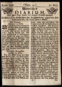 Titelseite der Ausgabe Nr. 44, 31. Mai 1732