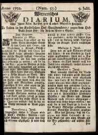 Titelseite der Ausgabe Nr. 55, 9. Juli 1732