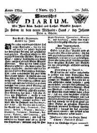 Titelseite der Ausgabe Nr. 55, 10. Juli 1734