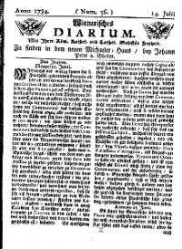 Titelseite der Ausgabe Nr. 56, 14. Juli 1734