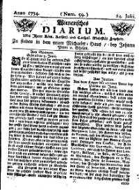Titelseite der Ausgabe Nr. 59, 24. Juli 1734
