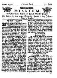 Titelseite der Ausgabe Nr. 61, 31. Juli 1734