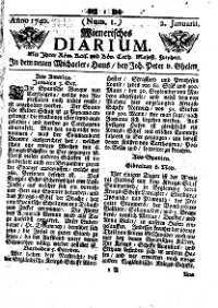 Titelseite der Ausgabe Nr. 1, 2. Jänner 1740