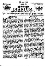 Titelseite der Ausgabe Nr. 85, 22. Oktober 1740