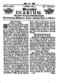 Titelseite der Ausgabe Nr. 86, 26. Oktober 1740