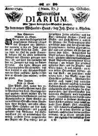 Titelseite der Ausgabe Nr. 87, 29. Oktober 1740