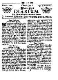 Titelseite der Ausgabe Nr. 93, 19. November 1740