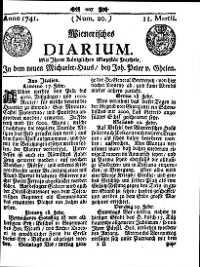 Titelseite der Ausgabe Nr. 20, 11. März 1741