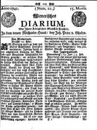 Titelseite der Ausgabe Nr. 21, 15. März 1741