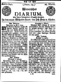 Titelseite der Ausgabe Nr. 24, 25. März 1741