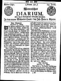 Titelseite der Ausgabe Nr. 50, 24. Juni 1741