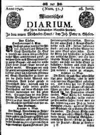Titelseite der Ausgabe Nr. 51, 28. Juni 1741