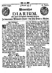 Titelseite der Ausgabe Nr. 45, 6. Juni 1742