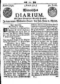 Titelseite der Ausgabe Nr. 52, 30. Juni 1742