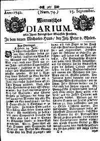 Titelseite der Ausgabe Nr. 74, 15. September 1742