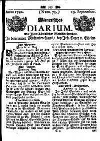 Titelseite der Ausgabe Nr. 75, 19. September 1742