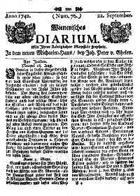 Titelseite der Ausgabe Nr. 76, 22. September 1742