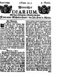 Titelseite der Ausgabe Nr. 20, 7. März 1744