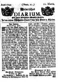 Titelseite der Ausgabe Nr. 21, 11. März 1744