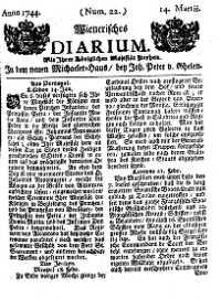 Titelseite der Ausgabe Nr. 22, 14. März 1744
