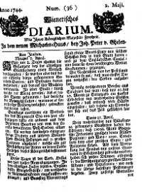 Titelseite der Ausgabe Nr. 36, 2. Mai 1744