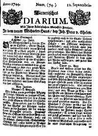 Titelseite der Ausgabe Nr. 74, 12. September 1744