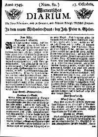 Titelseite der Ausgabe Nr. 82, 13. Oktober 1745