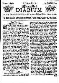 Titelseite der Ausgabe Nr. 83, 16. Oktober 1745