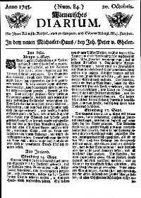 Titelseite der Ausgabe Nr. 84, 20. Oktober 1745