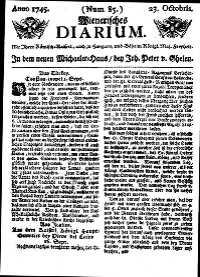 Titelseite der Ausgabe Nr. 85, 23. Oktober 1745