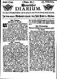 Titelseite der Ausgabe Nr. 86, 27. Oktober 1745