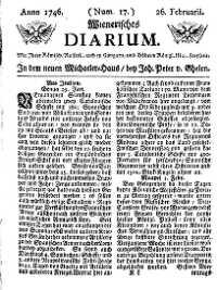 Titelseite der Ausgabe Nr. 17, 26. Februar 1746