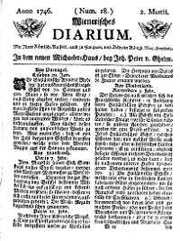 Titelseite der Ausgabe Nr. 18, 2. März 1746