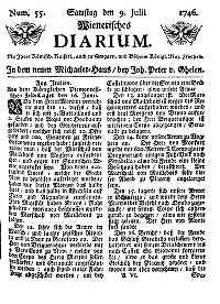 Titelseite der Ausgabe Nr. 55, 9. Juli 1746