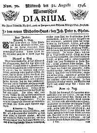 Titelseite der Ausgabe Nr. 70, 31. August 1746