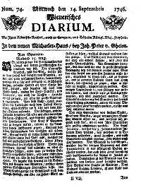 Titelseite der Ausgabe Nr. 74, 14. September 1746