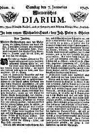 Titelseite der Ausgabe Nr. 2, 11. Dezember–18. 1746