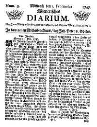 Titelseite der Ausgabe Nr. 9, 1. Februar 1747