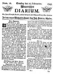 Titelseite der Ausgabe Nr. 16, 25. Februar 1747
