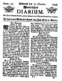 Titelseite der Ausgabe Nr. 23, 22. März 1747