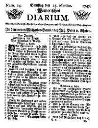 Titelseite der Ausgabe Nr. 24, 25. März 1747