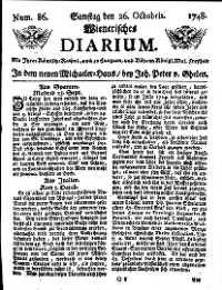 Titelseite der Ausgabe Nr. 86, 26. Oktober 1748