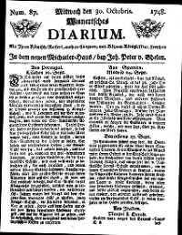 Titelseite der Ausgabe Nr. 87, 30. Oktober 1748