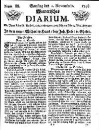 Titelseite der Ausgabe Nr. 88, 2. November 1748