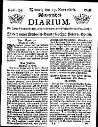 Titelseite der Ausgabe Nr. 91, 13. November 1748