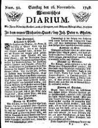 Titelseite der Ausgabe Nr. 92, 16. November 1748