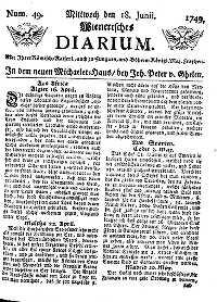Titelseite der Ausgabe Nr. 49, 18. Juni 1749