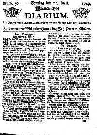 Titelseite der Ausgabe Nr. 50, 21. Juni 1749