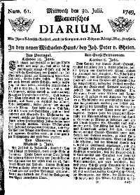 Titelseite der Ausgabe Nr. 61, 30. Juli 1749