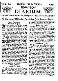 Titelseite der Ausgabe Nr. 64, 9. August 1749